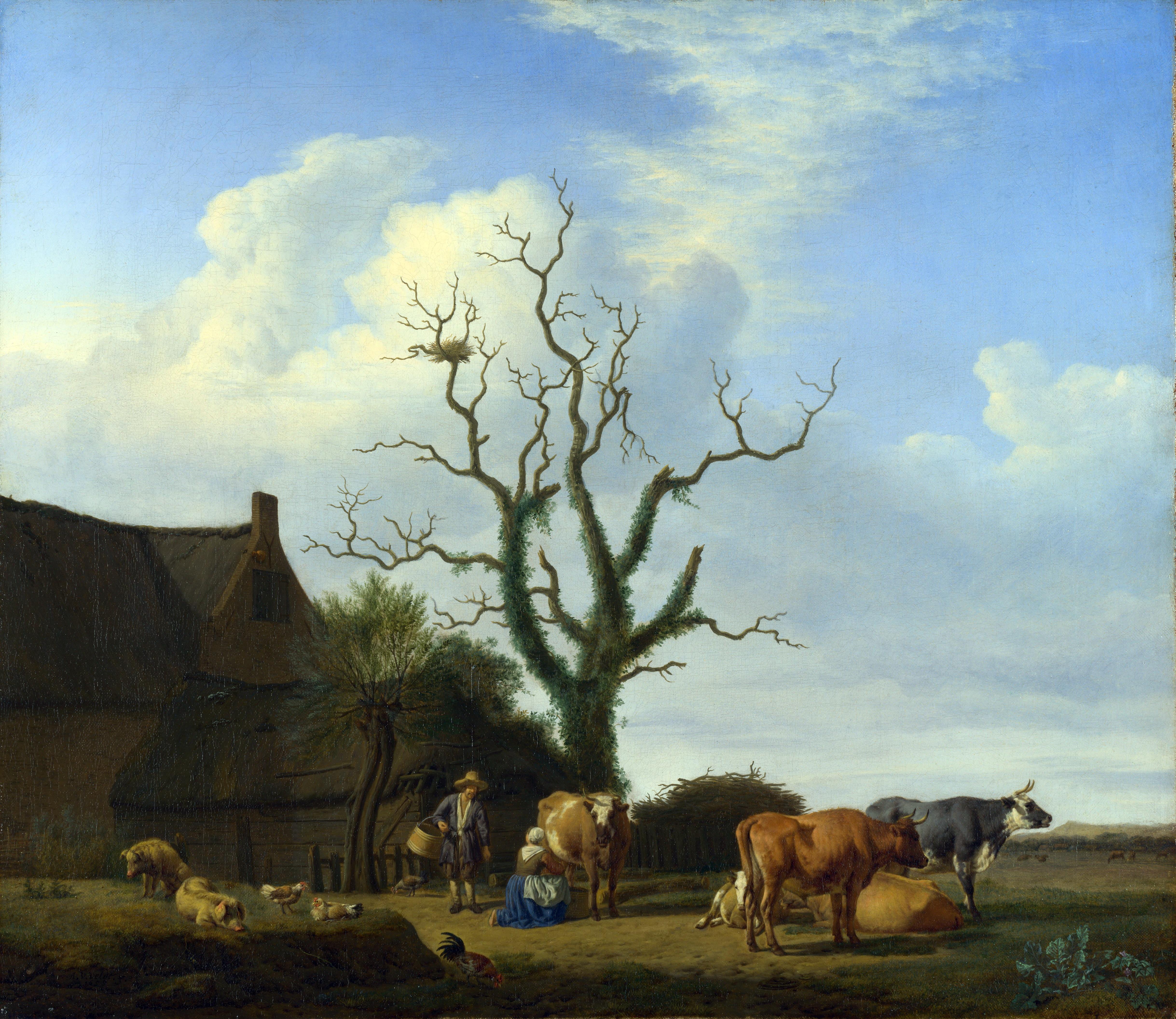 Adriaen_van_de_Velde_-_Een_boerderij_met_een_dode_boom_(1658)