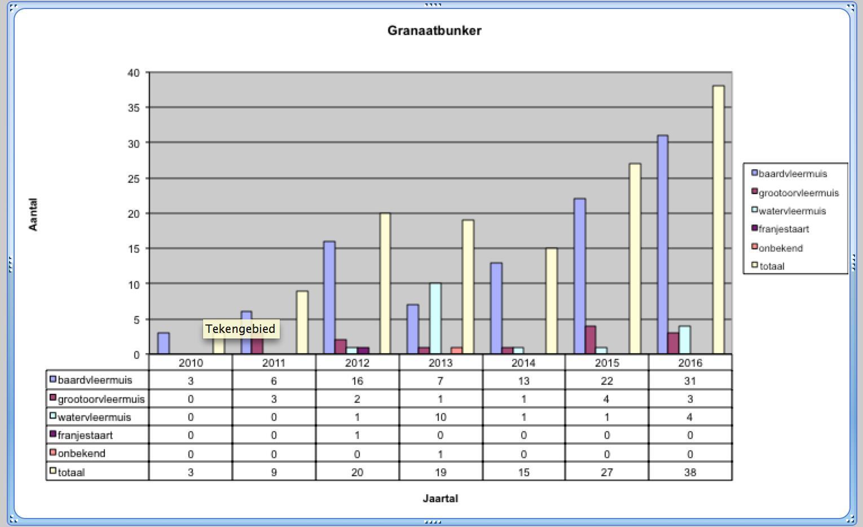 Aantal vleermuizen in de granaatkelder in de boswachterij Hooghalen.