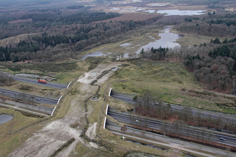 De natuurbrug gezien vanaf de oostkant van de A28.