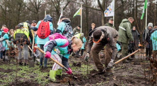 Leerlingen en vrijwilligers trotseerden weer en wind tijdens de Boomfeestdag 2019 (foto: gemeente Coevorden)