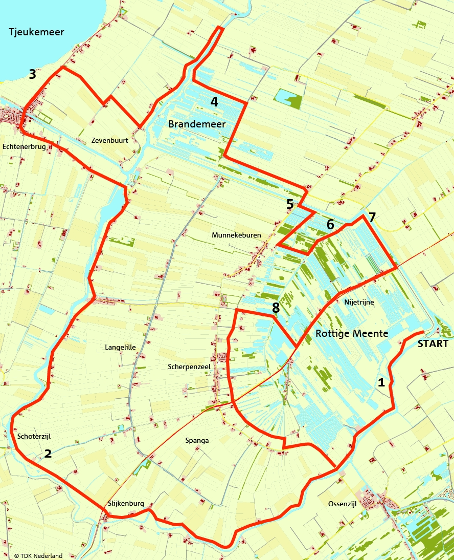 kaart fietsroute