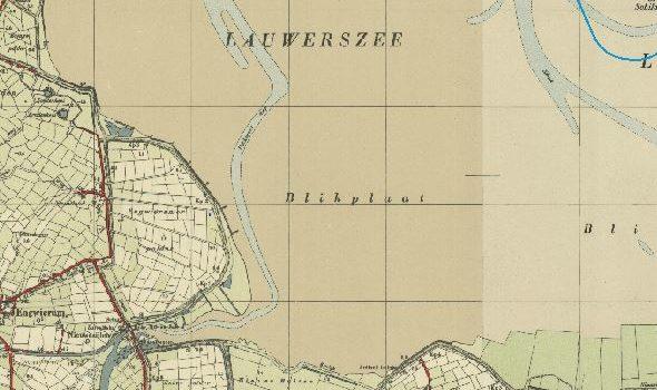De Zuidwesthoek van de Lauwerszee, topografische kaart circa 1950