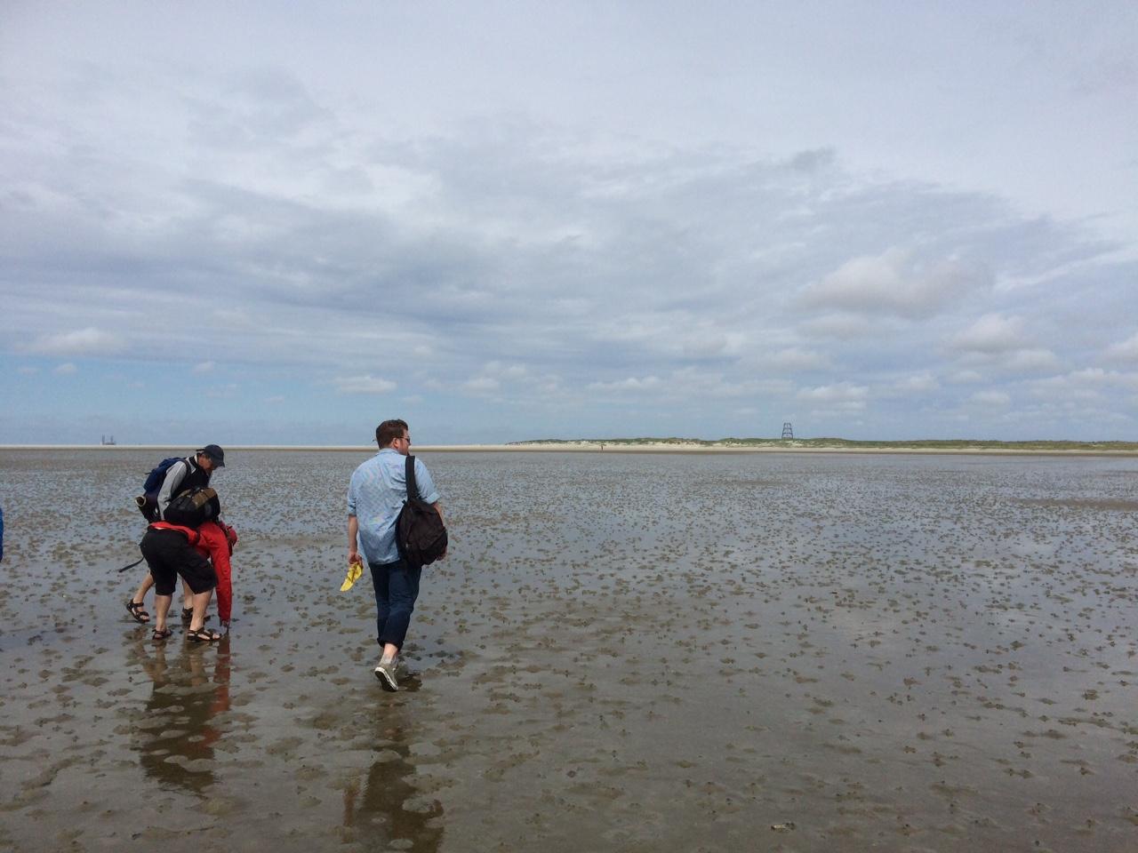 Lopen over het drooggevallen wad naar Rottumeroog. Foto: Jorien Bakker