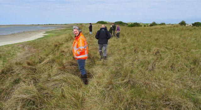 werkbezoek aan Rottumerplaat door Rijkswaterstaat en Staatsbosbeheer