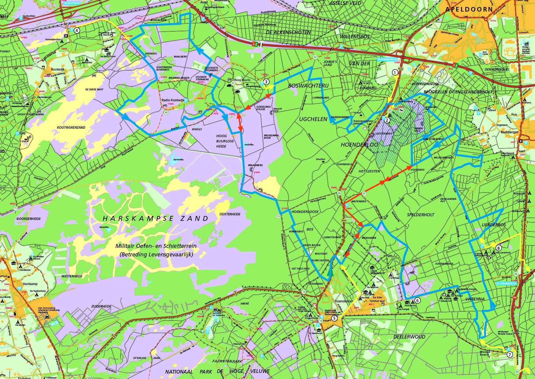 Overzichtskaart van de nieuwe MTB route, met meerdere lussen