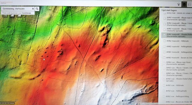 Screenshot van de AHN viewer, grafheuvels bij Vierhouten