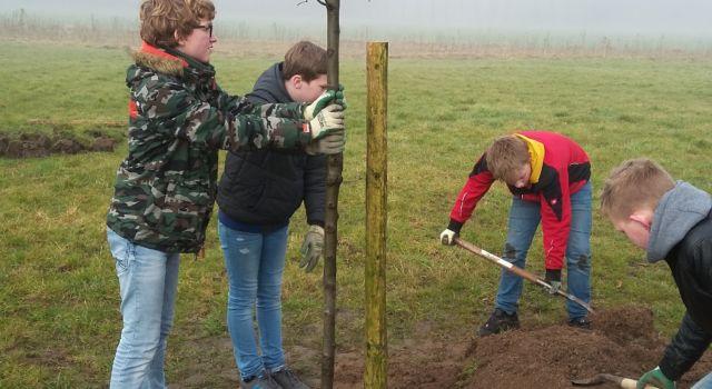 groep 8 van de Keijenbergschool uit Renkum plant een boom tijdens de Nationale Boomplantdag 2018