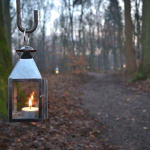 lantaarntjes met een kaarsje verlichten het bospad. Foto Hadewych Roelofsen
