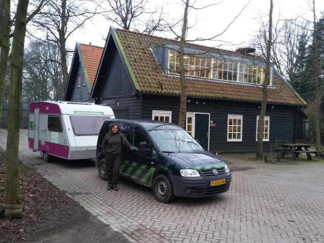 Het mobiele kantoor voor de werkschuur in Den Haag