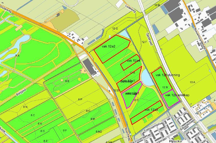Kaart van de percelen waar de boswerkzaamheden plaats zullen vinden. Deze zijn rood omrand.