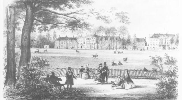 De Hertenkamp in het Haagse Bos 1860 - maker Last, C.C.A. (1808-1876) naar een foto door Hille M - bron Haags Gemeente Archief